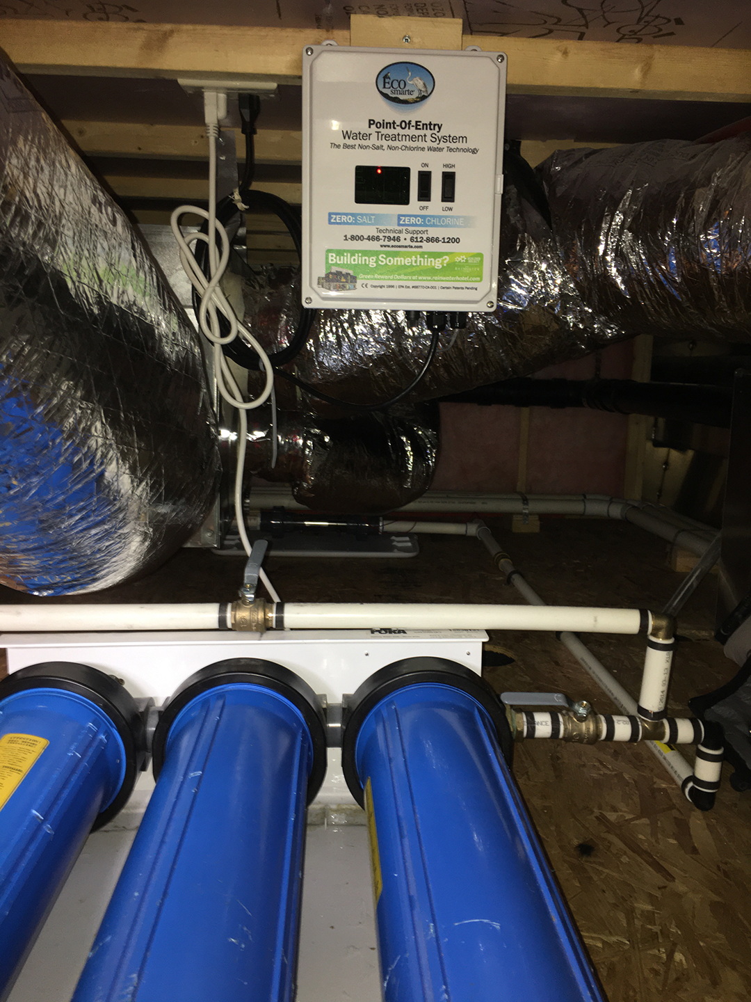 ECOsmarte Zero backwash Point of Entry houseboat, yacht, and RV system installed in a houseboat.