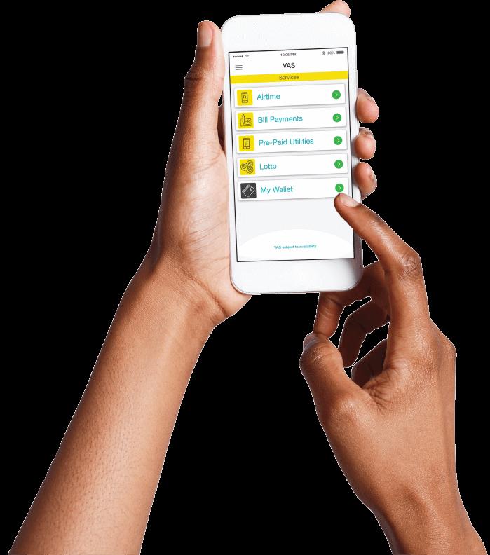 hands holding phone with ikhokha prepaid vas app screen