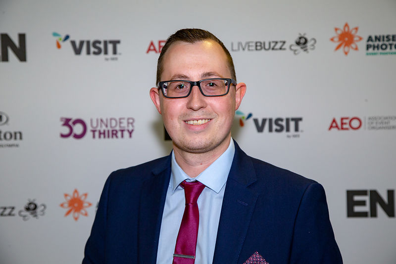 B2B Expos Founder, Matthew Larcome announced Exhibition News 30 Under Thirty Winner