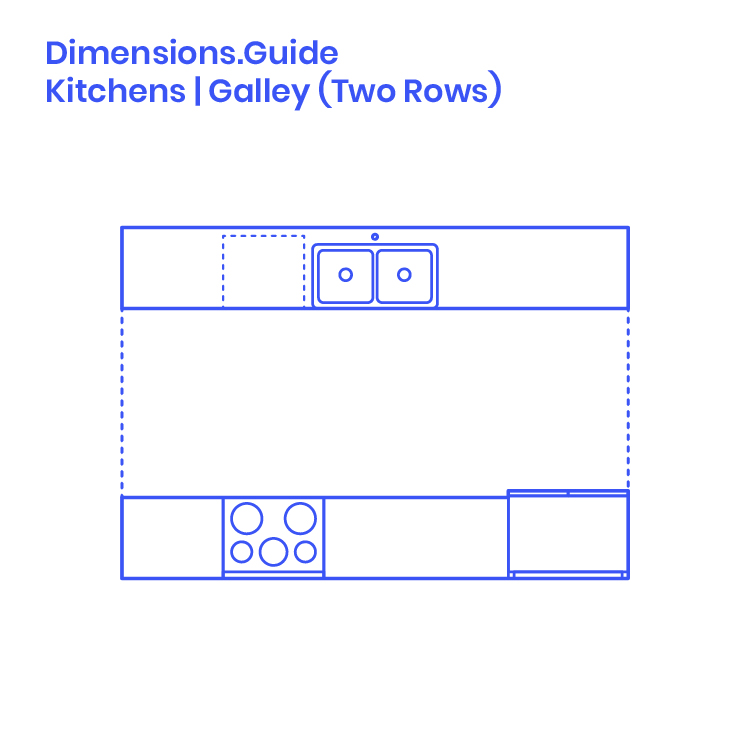 Two Row Galley Kitchens Dimensions Drawings Dimensionsguide