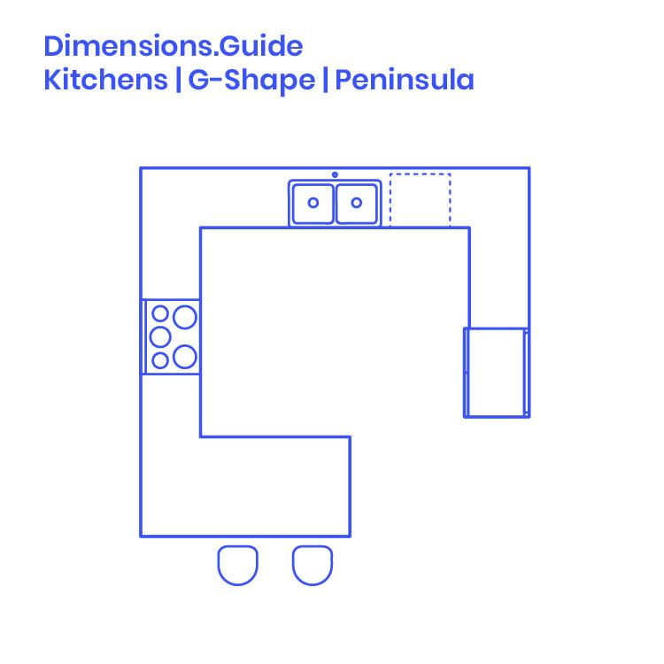 Peninsula Kitchen Dimensions & Drawings