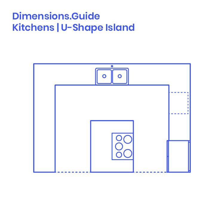 U Shape Island Kitchen Dimensions Drawings Dimensionsguide