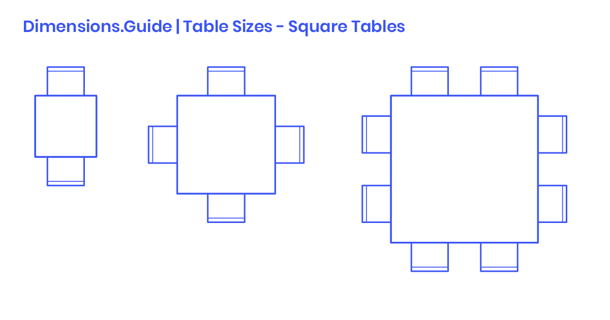 Square Table Sizes Dimensions Drawings Guide