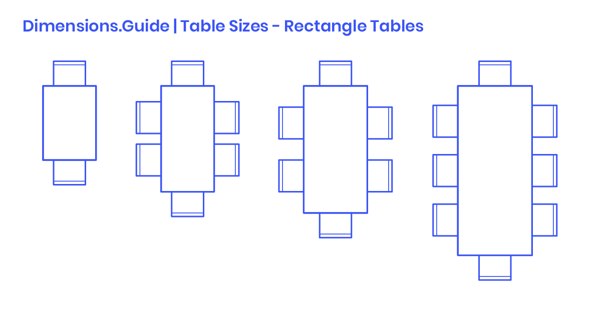 Rectangle Table Sizes Dimensions Drawings Guide