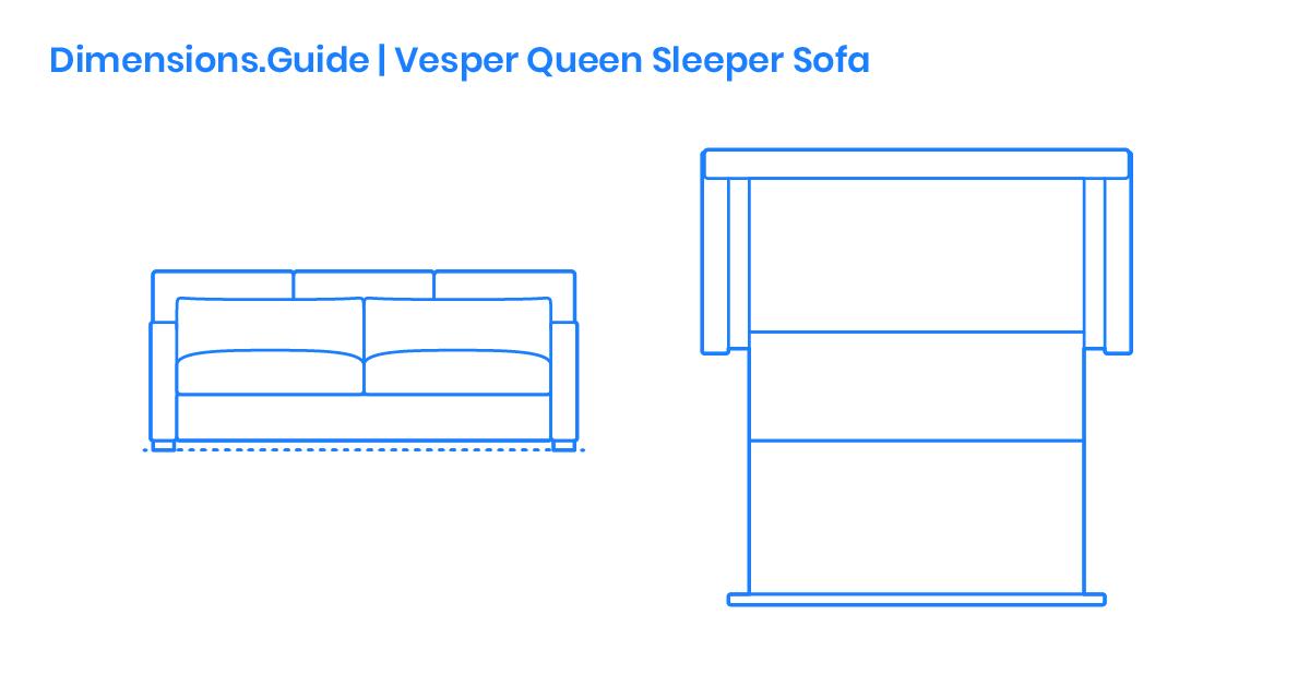 Vesper Queen Sleeper Sofa Dimensions, What Are The Dimensions Of A Full Size Sleeper Sofa