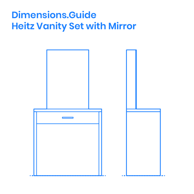 Heitz Vanity Set With Mirror Dimensions Drawings Dimensions Com