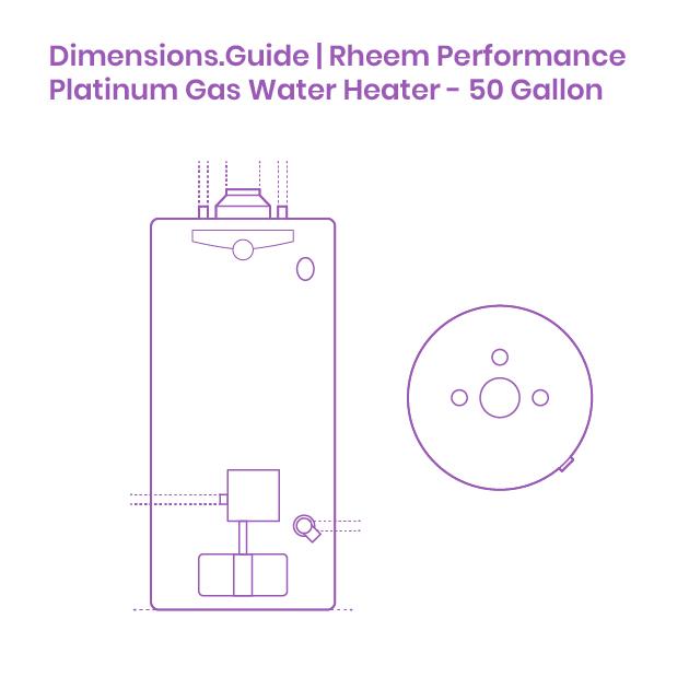 Rheem Performance Platinum Gas Water Heater 50 Gallon Dimensions Drawings Dimensions Com