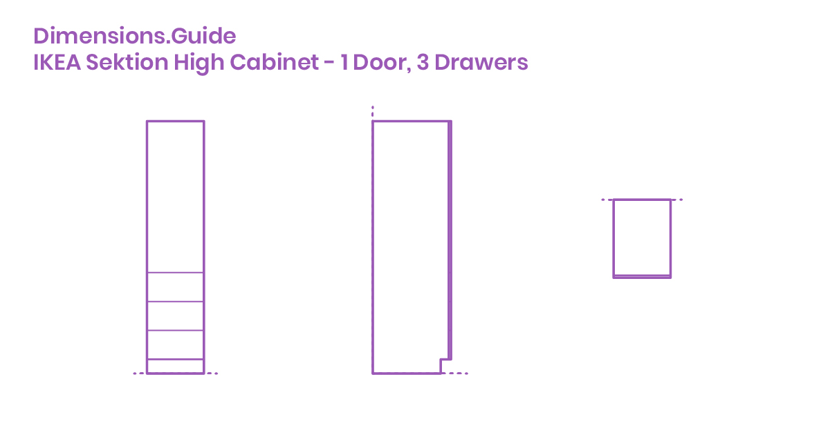 IKEA Sektion High Cabinet - 1 Door, 3 Drawers Dimensions ...