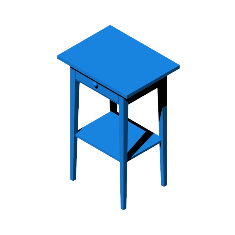 3D model of the IKEA Hemnes Nightstand viewed in perspective