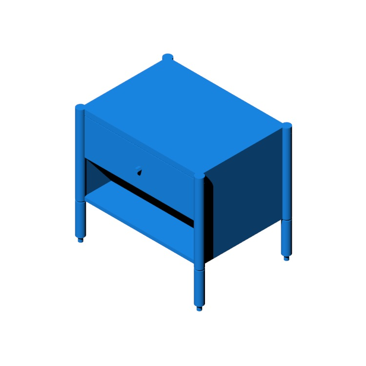 3D model of the Morrison Bedside Table viewed in perspective