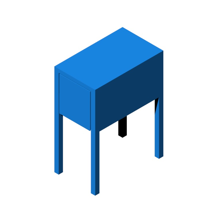 Perspective view of a 3D model of the IKEA Nordli Nightstand