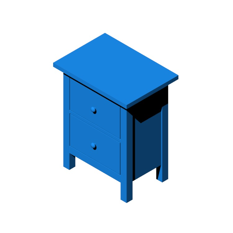 Perspective view of a 3D model of the IKEA Hemnes 2-Drawer Chest