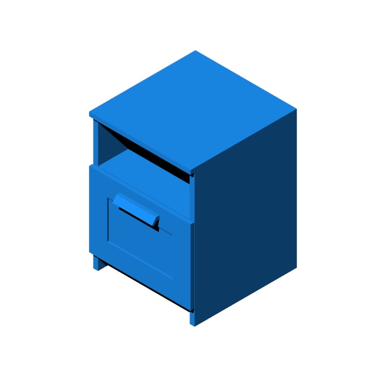 Perspective view of a 3D model of the IKEA Brimnes Nightstand