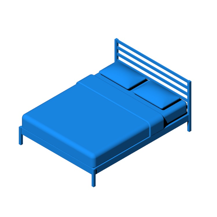 Perspective view of a 3D model of the IKEA Tarva Bed Frame