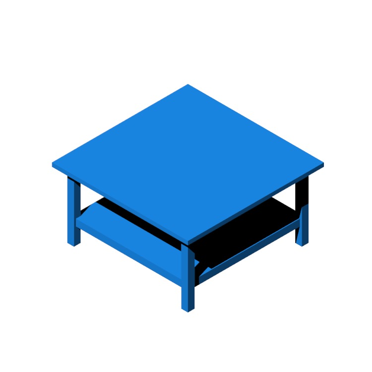 Perspective view of a 3D model of the IKEA Hemnes Coffee Table (Square)