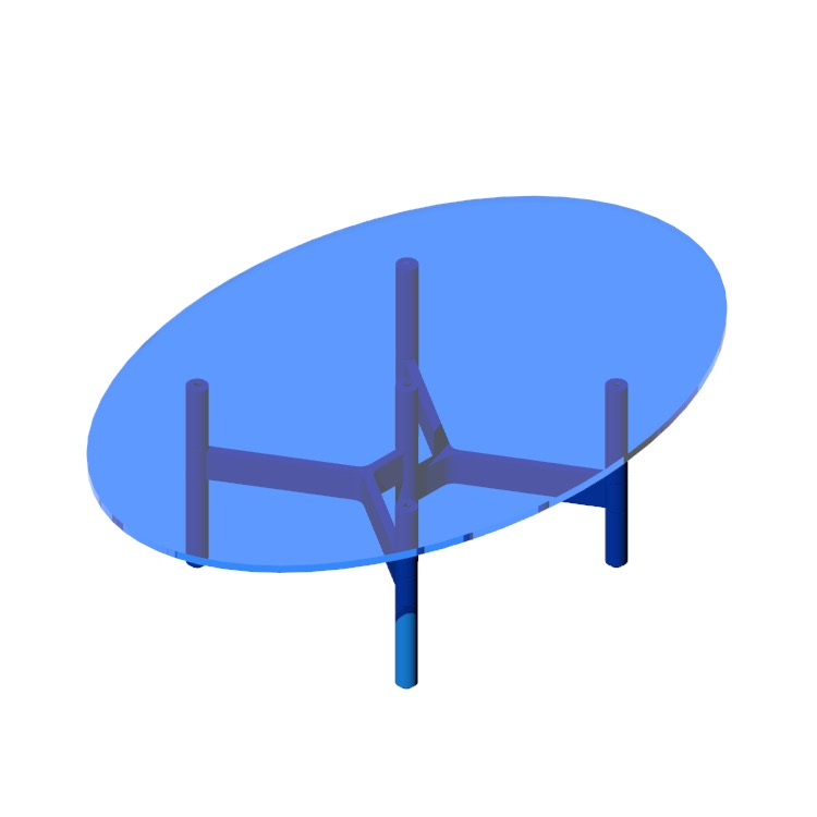 Perspective view of a 3D model of the Helix Coffee Table (Oval)