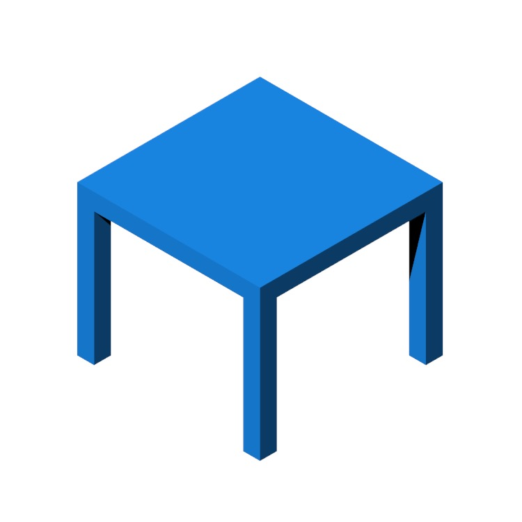 Perspective view of a 3D model of the IKEA Lack Side Table