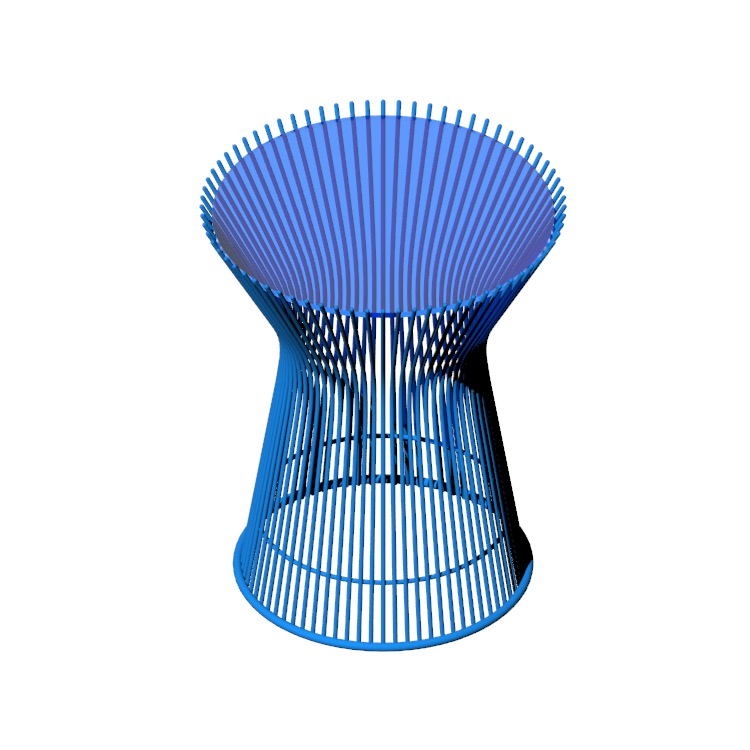 Perspective view of a 3D model of the Platner Side Table