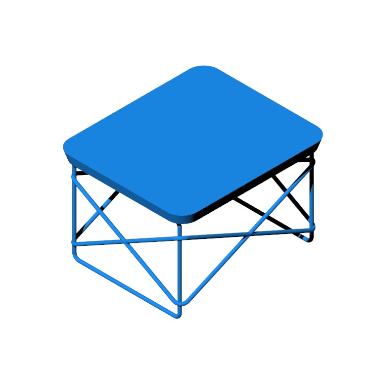 Perspective view of a 3D model of the Eames Wire Base Low Table