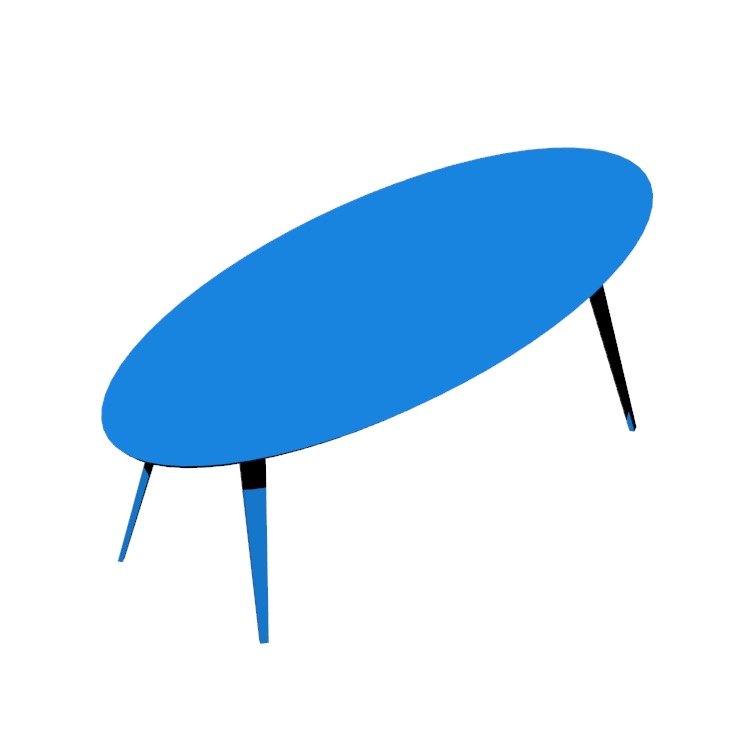 3D model of the Cherner Oval Tables viewed in perspective