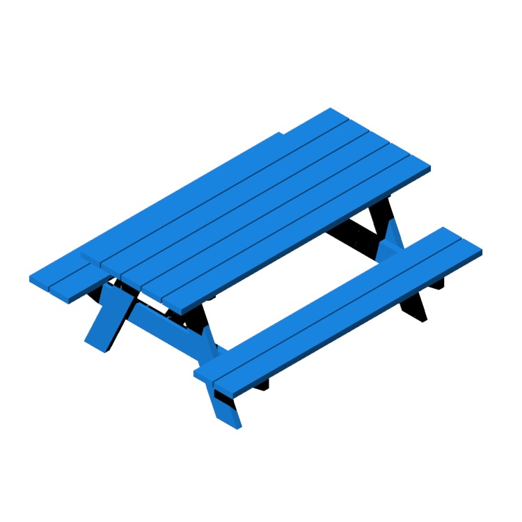 Perspective view of a 3D model of a rectangular Picnic Table
