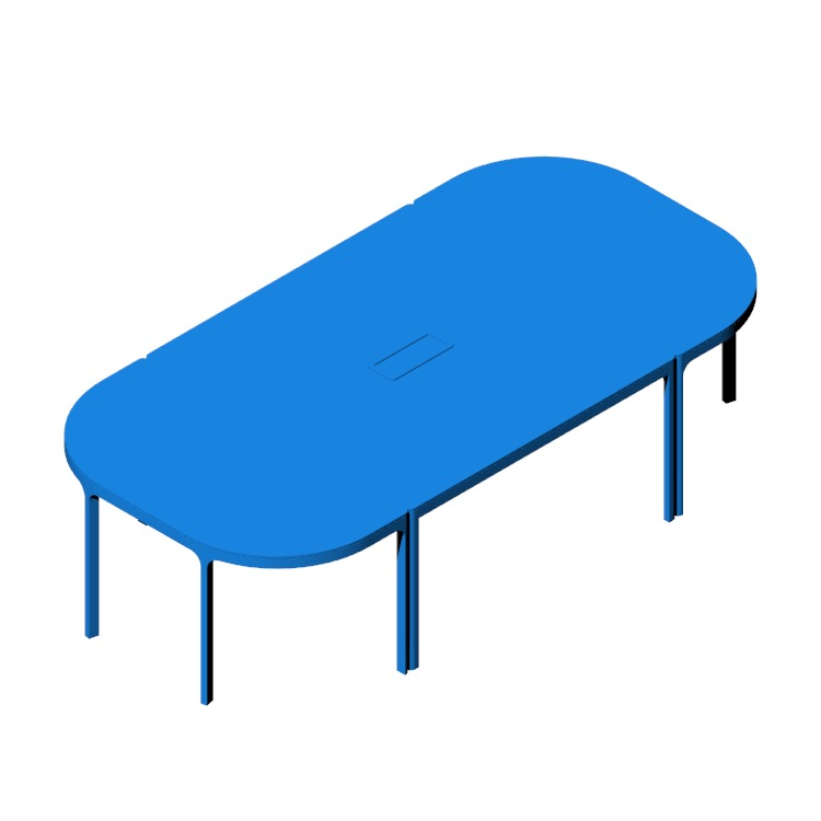 3D model of the IKEA Bekant Conference Table (3 Piece) viewed in perspective