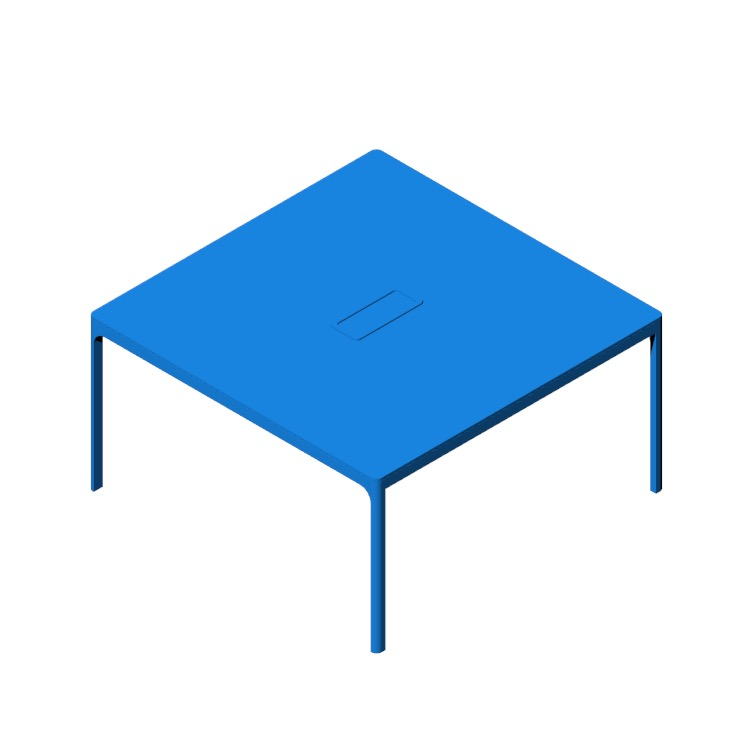 Perspective view of a 3D model of the IKEA Bekant Conference Table Square