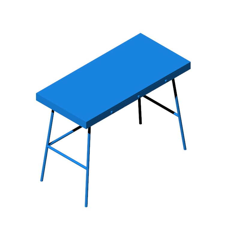 3D model of the IKEA Lillasen Desk viewed in perspective