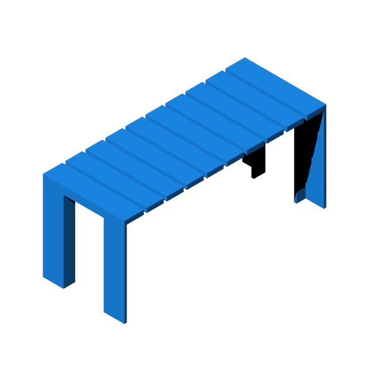 View of the Deneb Teak Bench in 3D available for download