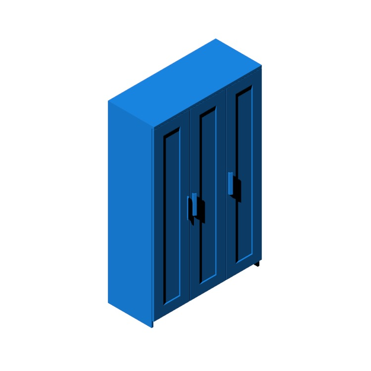 Perspective view of a 3D model of the IKEA Brimnes Three Door Wardrobe