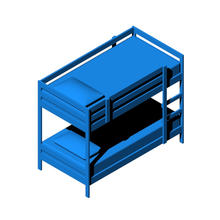 Perspective view of a 3D model of the IKEA Mydal Bunk Bed