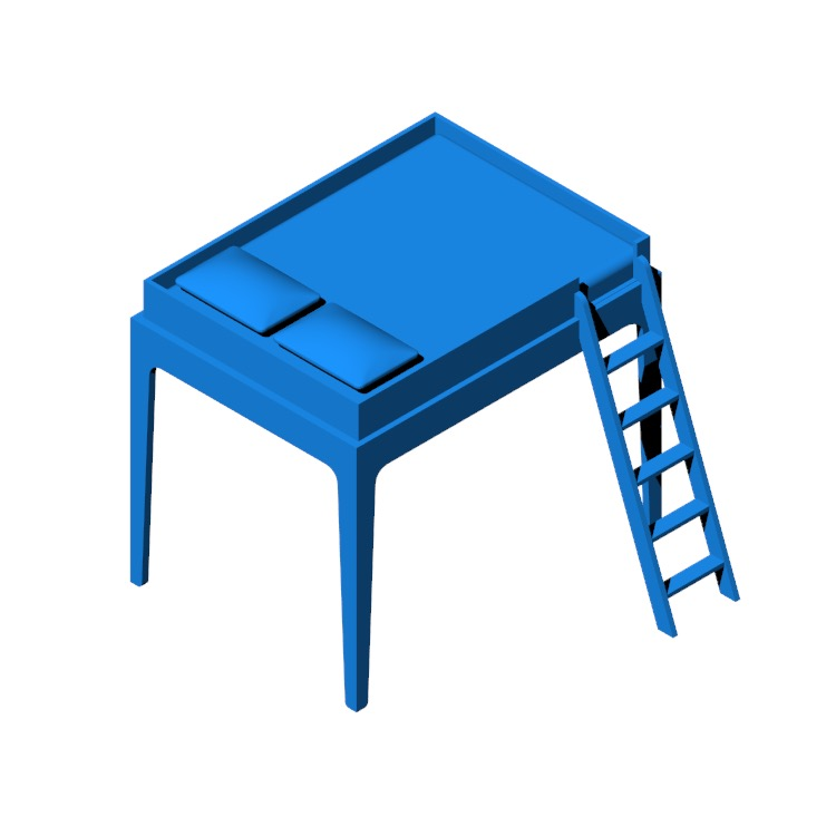 3D model of the Perch Loft Bed viewed in perspective