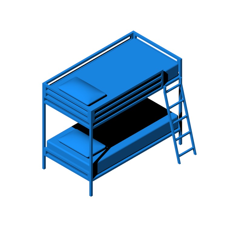 View of the Doshie Metal Twin Over Twin Bed in 3D available for download