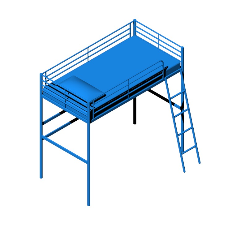 Perspective view of a 3D model of the IKEA Svarta Loft Bed
