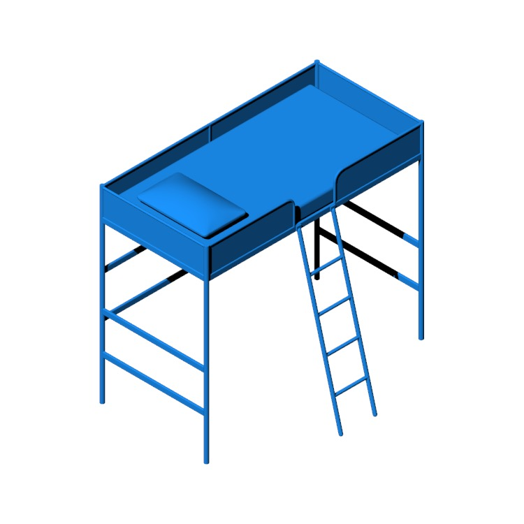 3D model of the IKEA Tuffing Loft Bed viewed in perspective