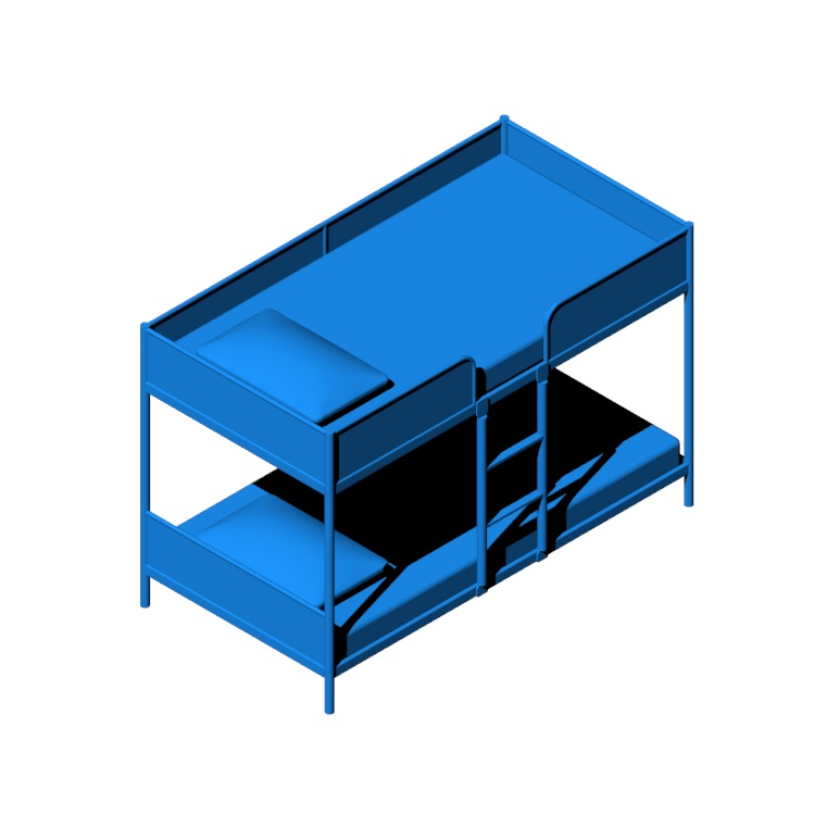 View of the IKEA Tuffing Bunk Bed in 3D available for download