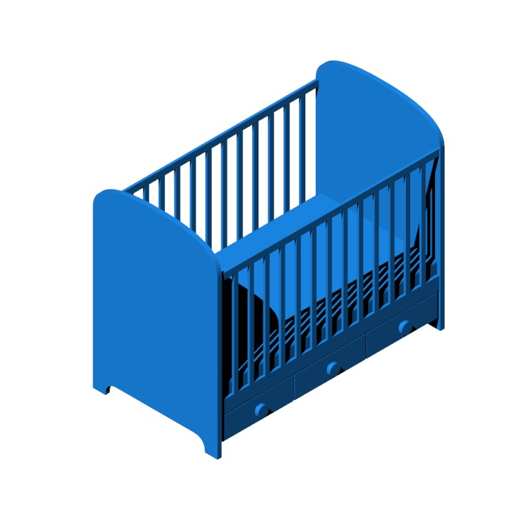 View of the IKEA Gonatt Crib in 3D available for download