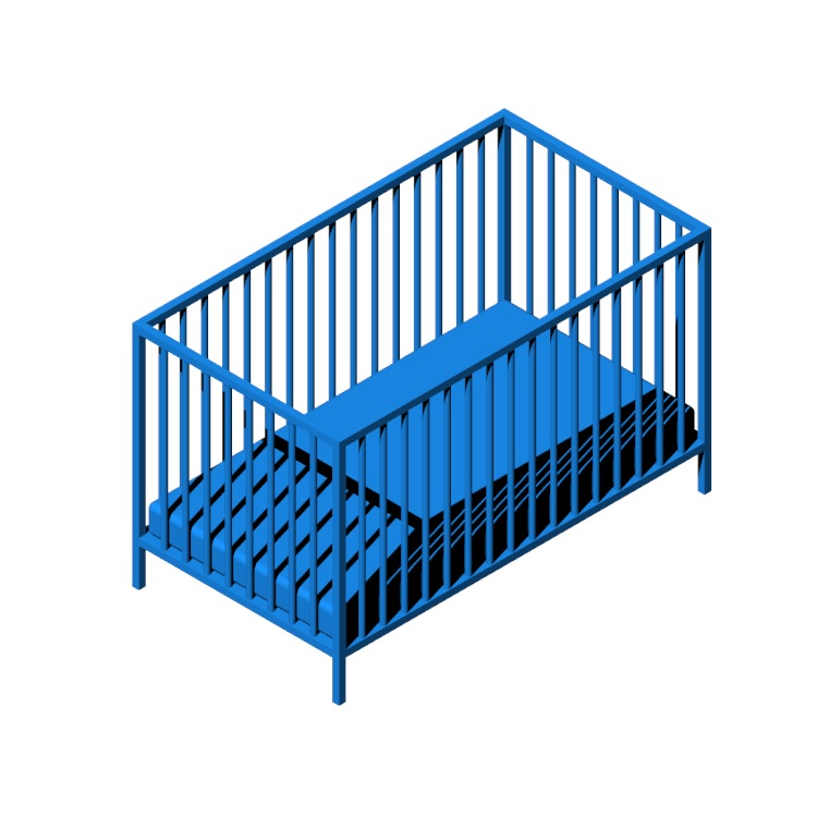 3D model of the IKEA Sniglar Crib viewed in perspective