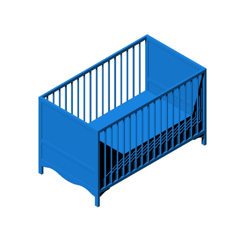 3D model of the IKEA Solgul Crib viewed in perspective