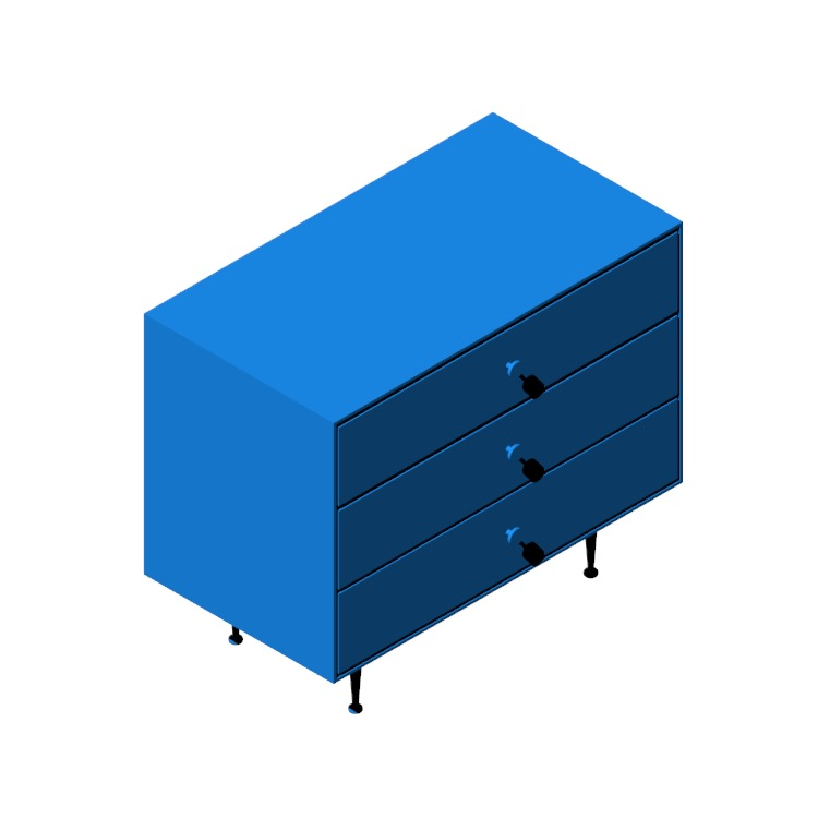 View of the Nelson Three-Drawer Chest in 3D available for download