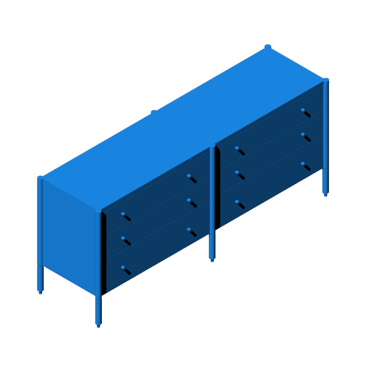 3D model of the Morrison Wide Dresser viewed in perspective