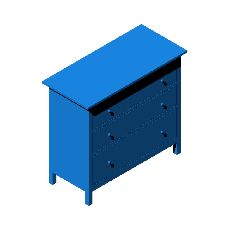 Perspective view of a 3D model of the IKEA Hemnes 3-Drawer Chest