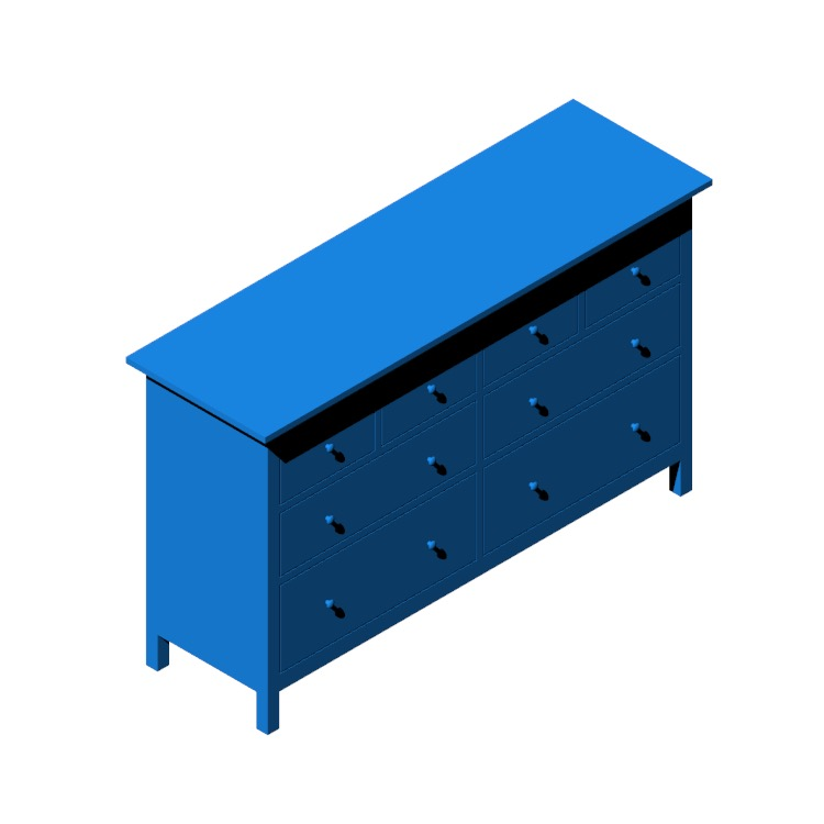 3D model of the IKEA Hemnes 8-Drawer Dresser viewed in perspective