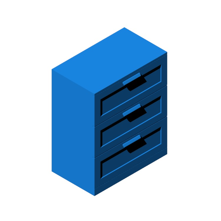 3D model of the IKEA Brimnes 3-Drawer Chest viewed in perspective