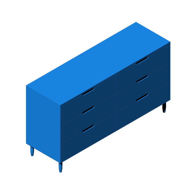 3D model of the Raleigh Wide Dresser viewed in perspective