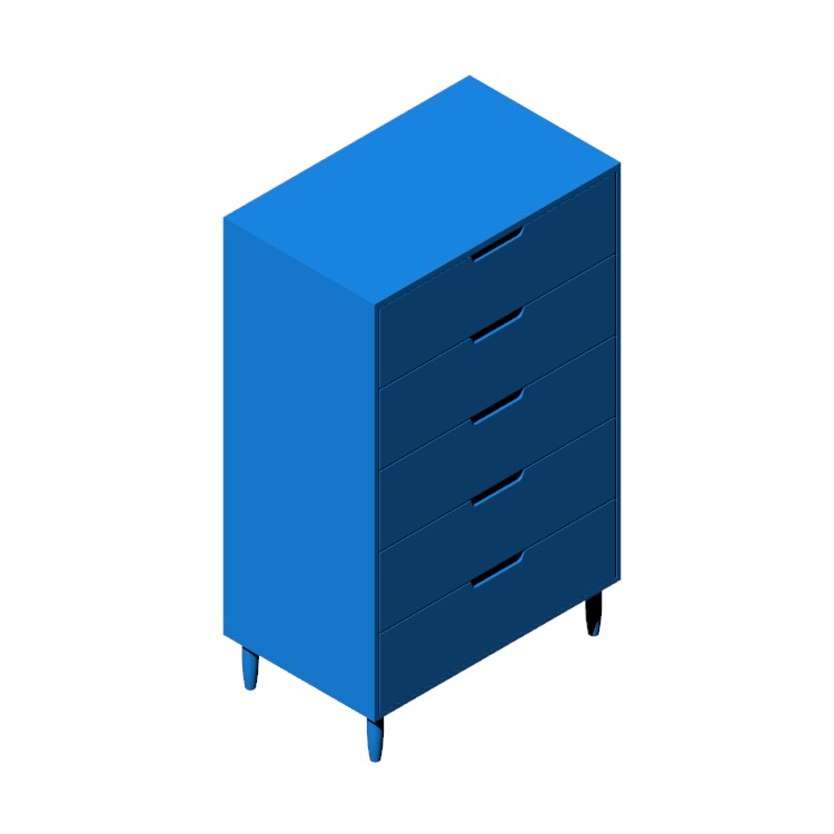 Perspective view of a 3D model of the Raleigh Tall Dresser
