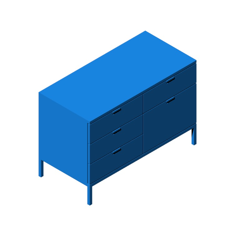 View of the Florence Knoll Two Position Credenza in 3D available for download