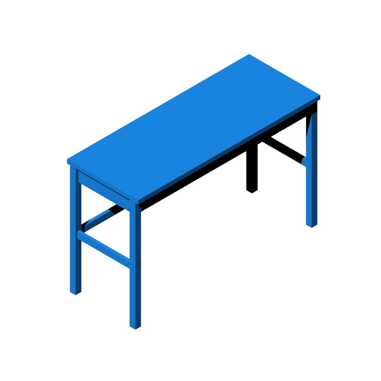 3D model of the IKEA Hemnes Desk (2 Drawers) viewed in perspective