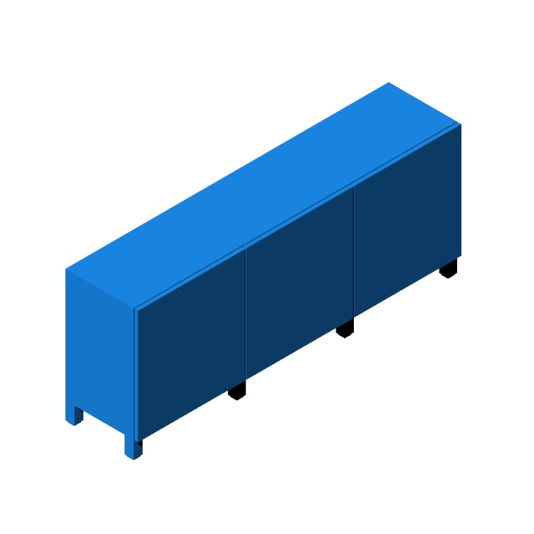 3D model of the IKEA Bestå Storage Combination (Low - 3 Door) viewed in perspective