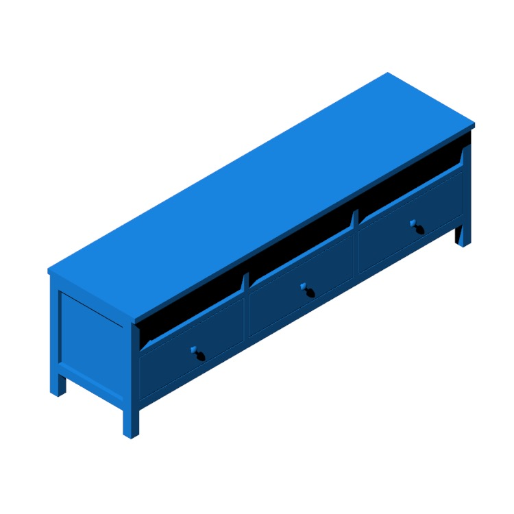 Perspective view of a 3D model of the IKEA Hemnes TV Unit - Long